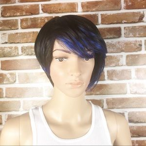 Women's Synthetic 2 Toned Blue Black Wig